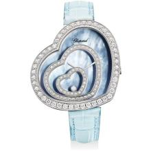 CHOPARD - A lady's fine white gold and diamond-set heart-shaped wristwatch with blue mother-of-pearl dial, Circa 2008