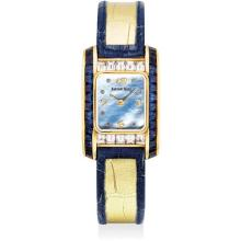 AUDEMARS PIGUET - A lady's fine and rare yellow gold, diamond and sapphire-set wristwatch with mother-of-pearl dial, 1994