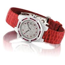AUDEMARS PIGUET - A lady's fine white gold, diamond and ruby-set tonneau-shaped wristwatch with date, Circa 1995