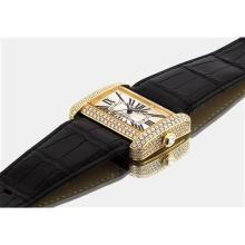 CARTIER - A lady's fine yellow gold and diamond-set rectangular wristwatch with sweep centre seconds, Circa 2005