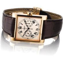 CARTIER - A fine and rare pink gold limited edition single-button chronograph rectangular wristwatch, Circa 2008