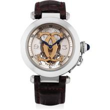 CARTIER - A fine and very rare white gold limited edition semi-skeletonised tourbillon wristwatch, Circa 1998