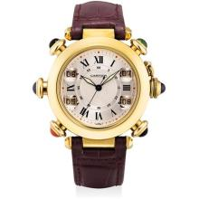 CARTIER - A fine and rare yellow gold and multi gem-set wristwatch with sweep centre seconds and golf stroke counters, Circa 1998