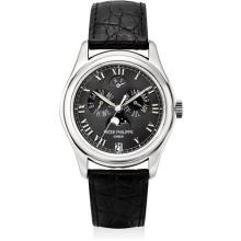 PATEK PHILIPPE - A fine platinum annual calendar wristwatch with sweep centre seconds, power reserve and moon phases, 2005