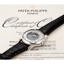 PATEK PHILIPPE - A fine and rare platinum worldtime wristwatch, Circa 2008
