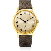 PATEK PHILIPPE - A fine and rare yellow gold wristwatch with date, Roman numerals and original certificate, Circa 1969
