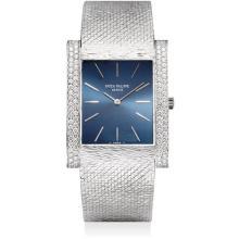 PATEK PHILIPPE - A fine white gold and diamond-set rectangular bracelet watch, 1976