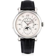 PATEK PHILIPPE - An incredibly fine and rare white gold minute repeating perpetual calendar wristwatch with retrograde date, leap year indicator, moon phases, original certificate and fitted presentation box, Circa 2012
