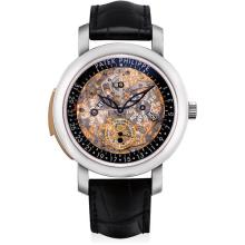 PATEK PHILIPPE - An exceptional and very rare platinum and pink gold semi-skeletonized minute repeating perpetual calendar wristwatch with retrograde date, moon phases, leap year indicator, original certificate and fitted presentation box, Circa 2012
