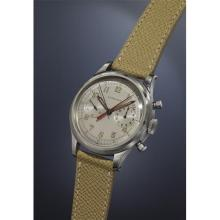 LONGINES - A very rare, highly attractive, and large stainless steel chronograph wristwatch with charismatic silver-colored dial, step bezel, and red-colored central elapsed minute counter., 1947