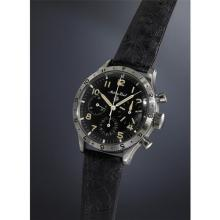 MATHEY-TISSOT - An extremely rare, highly attractive stainless steel fly-back chronograph with black dial, luminous hour markers , and rotatable bezel., Circa 1960