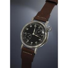 LONGINES - An oversized, rare and historically important asymmetrical chrome plated pilot?s chronograph wristwatch with black dial, single button pusher and military markings, made for the US Army., 1935