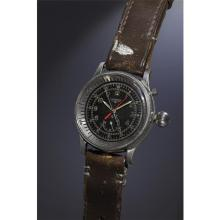 LONGINES - A very rare, important and oversized stainless steel single-button fly-back aviator?s chronograph wristwatch with black dial, large crown and revolving bezel., 1959
