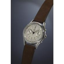 LONGINES - A very rare and highly attractive stainless steel fly-back chronograph wristwatch with silvered dial, tachometer and telemeter scale., 1963