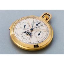AUDEMARS PIGUET - A very rare and attractive yellow gold open face minute repeating perpetual calendar watch with split-seconds chronograph and moon phases, Sold in 1976