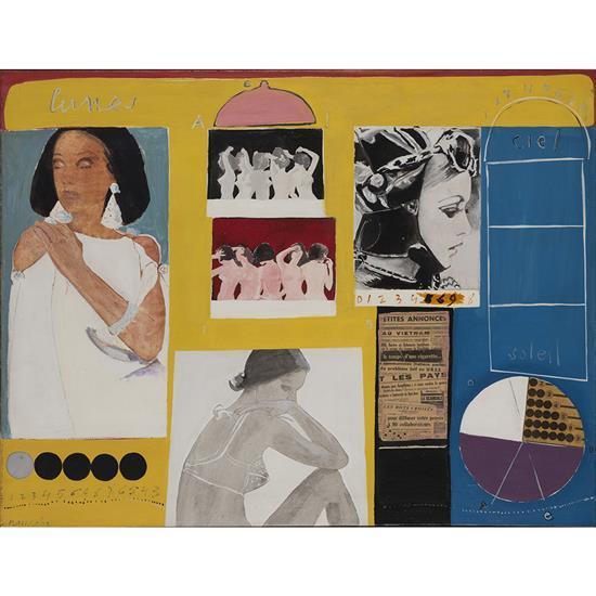 Edgard Naccache (1917-2006) Images et femmes, 1967 Technique mixte (acrylique et collage) sur toile Signée en bas à gauche C...
