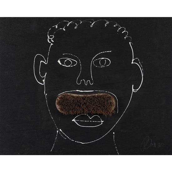 Benjamin Vautier dit BEN (né en 1935) Moustache, 1980 Technique mixte sur bois Signée et datée en bas à droite Contresignée et datée...