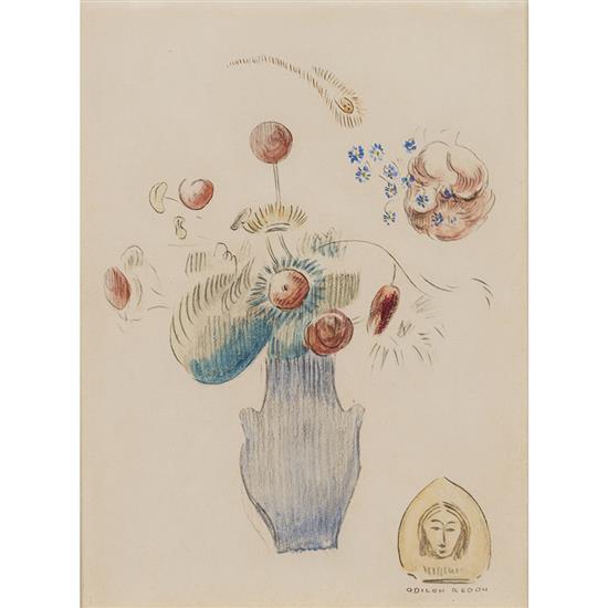 Odilon Redon (1840-1916)Vase de fleurs et visage, 1910-1912