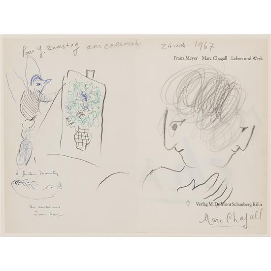 Marc Chagall (1887-1965)Double-profi et coq peintre, 1967