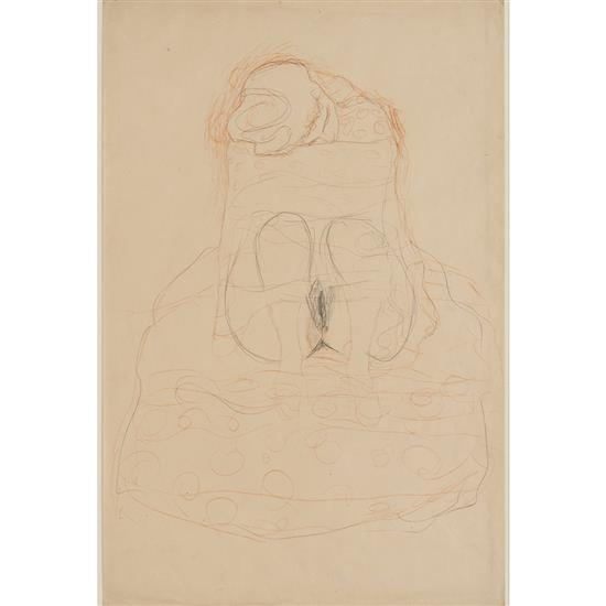 *Gustav Klimt (1862-1918)Sitzende mit geraffem Rock, circa 1910