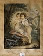 Deux gravures en couleurs L'Amour instruit l'innocence et Susan