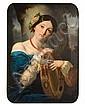 École française vers 1850 Jeune fille au tambourin