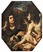 Alessandro ROSI  (Florence 1627-vers 1707) Agar et l'ange Toile de forme octogonale 115 x 90 cm (Restaurations anciennes) Dans son c..