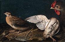 Attribué à Sébastian STOSKOPFF (1597-1657) Perdrix grises et coq Toile 19,5 x 29 cm Ces trois animaux peints avec une grande minutie...