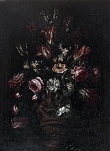 École FRANÇAISE de la fin du XVIIe siècle, entourage de Jean Baptiste MONNOYER Bouquets de fleurs sur un entablement