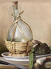 École ITALIENNE du XVIIIe siècle, entourage de Carlo MAGINI Nature morte à la bouteille et aux oignons