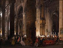 Giuseppe CANELLA (Vérone 1788 - Florence 1847) Intérieur de la basilique Sainte Anastasie de Vérone Carton 17,5 x 23,5 cm  Provenanc...