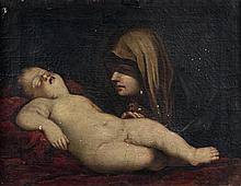 École ITALIENNE du XVIIe siècle, suiveur de Guido RENI La Vierge et l'Enfant endormi Toile 45,5 x 59 cm (Manques) À rapprocher de la...