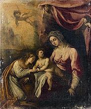 École ITALIENNE vers 1650 Le mariage mystique de sainte Catherine