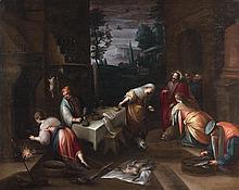 École ANVERSOISE vers 1620, d'après Jacopo BASSANO Jésus chez Marthe et Marie