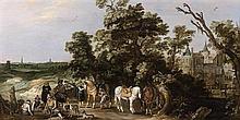 École HOLLANDAISE vers 1630 Campement de soldats dans un paysage Panneau de chêne, deux planches, non parqueté 32,5 x 61 cm (Restaur...