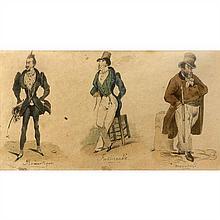 Victor Vincent Adam (Paris 1801-Viroflay 1886) Trois caricatures de parisien sur la même feuille : le romantique, le fashionable e...
