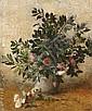Henry LEROLLE (1848-1929) Bouquet de fleurs Huile sur toile 73 x 60 cm Authentification au verso par Gabriel Rouart, arrière-petit-f...