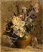 Eugène PETIT (1839-1886) Fleurs coupées dans un pot