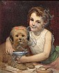 Pierre Louis Joseph de CONINCK (1828-1910) Fillette au chien