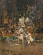 David Eugène GIRIN (1848-1917) Mère et enfant place Bellecour à Lyon