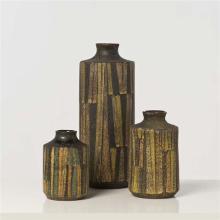 Aldo Londi (1911-2003) Suite de trois vases Céramique émaillée Serie Milano Moderna Édition Bitossi pour Raymor Date de cr...