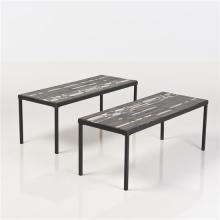 Roger Capron (1922-2006) Paire de tables Métal et céramique émaillée Signées Date de création : vers 1960 H 40 × L 100 × P...