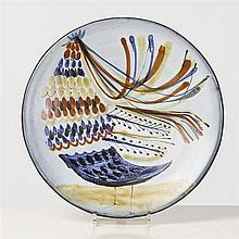 Roger Capron (1922-2006) Plat Céramique émaillée Signé, cachet Vallauris Date de création : vers 1955 Ø 38,5 cm