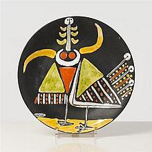 Roger Capron (1922-2006) Plat Céramique émaillée Signé, cachet Vallauris Date de création : vers 1955 Ø 30,5 cm