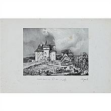 Adrien DAUZATS CHATEAU DE SAINT POL, PRES SAINT MARTIN VALMEROUX. (Pl. 203 pour Taylor et Nodier, Voyages pittoresques et romantique...