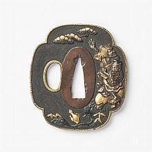 JAPON - XIXe siècle Mokko gata en shibuichi et incrustations de cuivre doré de Yoshimori attrapant le voleur d'huile sur fond...