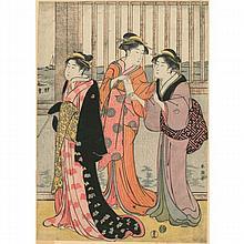 Katsukawa Shuncho (actif vers 1770-1790) Aiban tate-e partie de triptyque, trois courtisanes devant un pavillon sur la mer. Si...