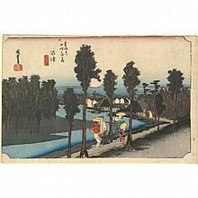 Ando Hiroshige (1797-1858) Oban yoko-e de la série