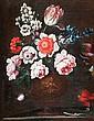 Attribué à  Peter CASTEELS III Bouquet de fleur  sur un entablement Huile sur toile 42 x 34,5 cm (Restaurations)