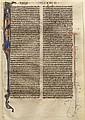 Feuillet de Bible sur parchemin avec lettrine polychrome et or